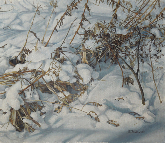 Winter (Frosted Brush), oil on canvas, 12.5 x 14.5, $1,575 fr