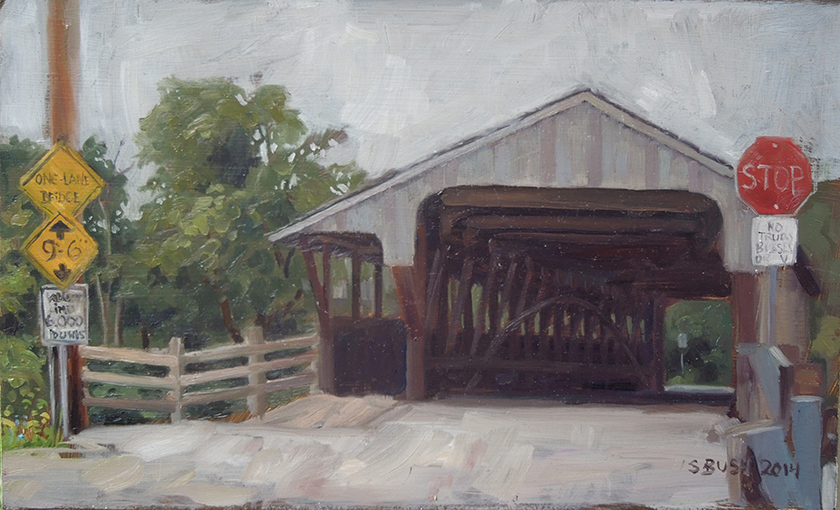 Waitsfield Covered Bridge, oil on panel, SOLD