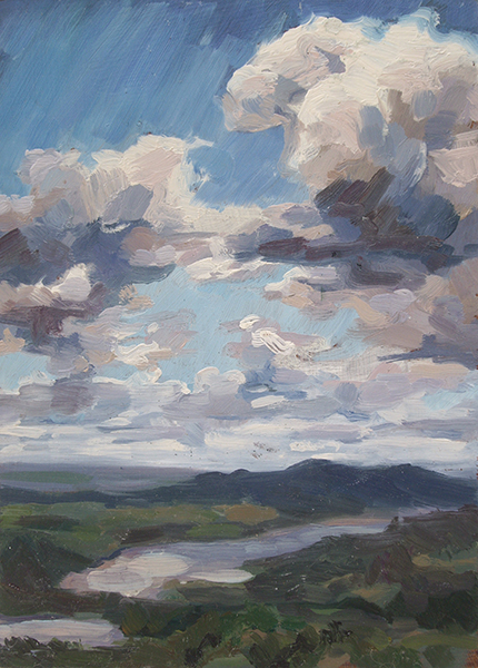 View from Ochre Hill II, oil on panel, 7 x 5, $400 framed