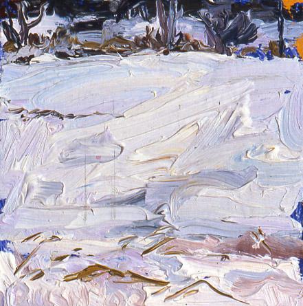 Snow, oil on panel, 3 x 4, SOLD