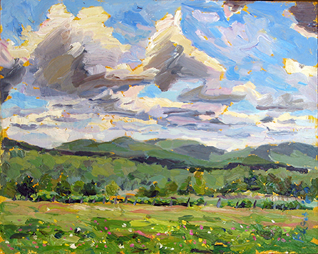 View From Brill Rd, oil on panel, 8 x 10, S