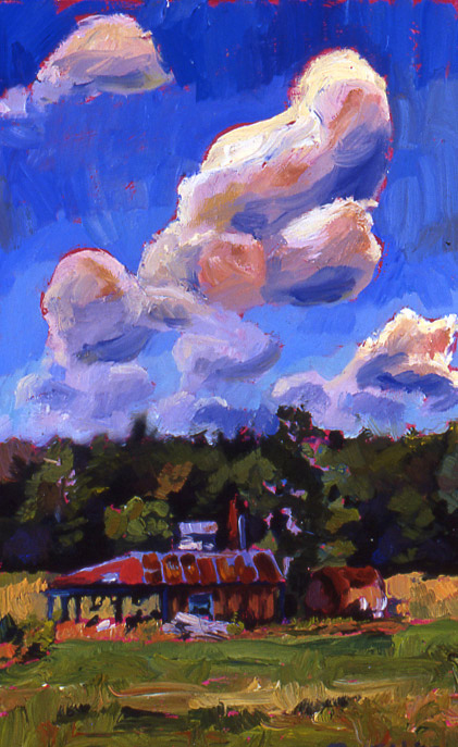 Red Shed, oil on panel, 11 x 7, SOLD