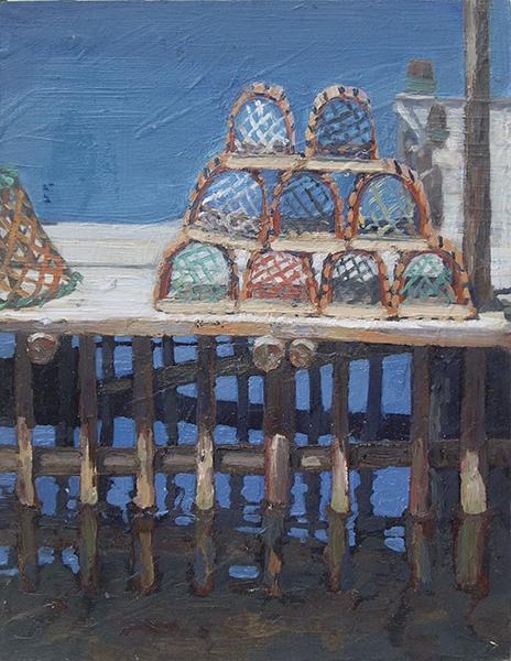Lobster Traps, oil on panel, 9 x 7, $475 framed