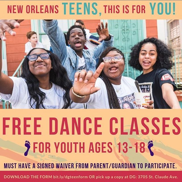 In response to the city's summer curfew policy, @dancinggrounds is inviting all teens in New Orleans to take adult dance classes at DG for FREE ALL SUMMER. Classes take place M-Th, 6-9pm and Saturdays, 9:30am-12pm. We have lots of beginner level dance and fitness classes including hip hop, african, caribbean dancehall, ballet, yoga, contemporary, and more. Must have a Parent/Guardian sign a release form. Can be found on the website.  #free #dance #nola #noladance