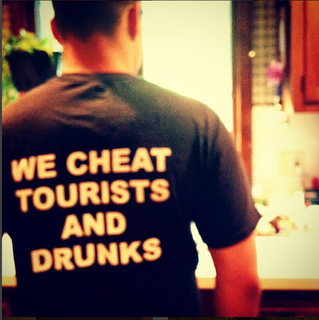 My brother, wearing a shirt from the Quarterdeck, a bar in Hyannis, which is maybe my favorite bar on earth.