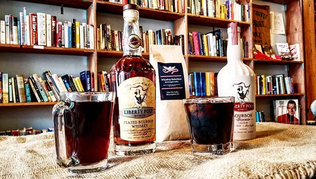 It's the 250th anniversary celebration here in Mon City, and we're doing a whiskey rebellion theme! Try our whiskey barrel aged coffee, aged in a peated bourbon whiskey barrel from @libertypolespirits! We can do cold brew, hot coffee, lattes, and more! Also, we have some whiskey samples if you want to compare or add to your coffee! #moncity250 #whiskeyrebellion #whiskey #whiskeybarrelagedcoffee #coldbrew #coldbrewcoffee #barrelagedcoffee #barrelaged #whiskeybarrel #peatedburbon #localcoffeeshop #littlecitycoffee #localdistillery #libertypolespirits