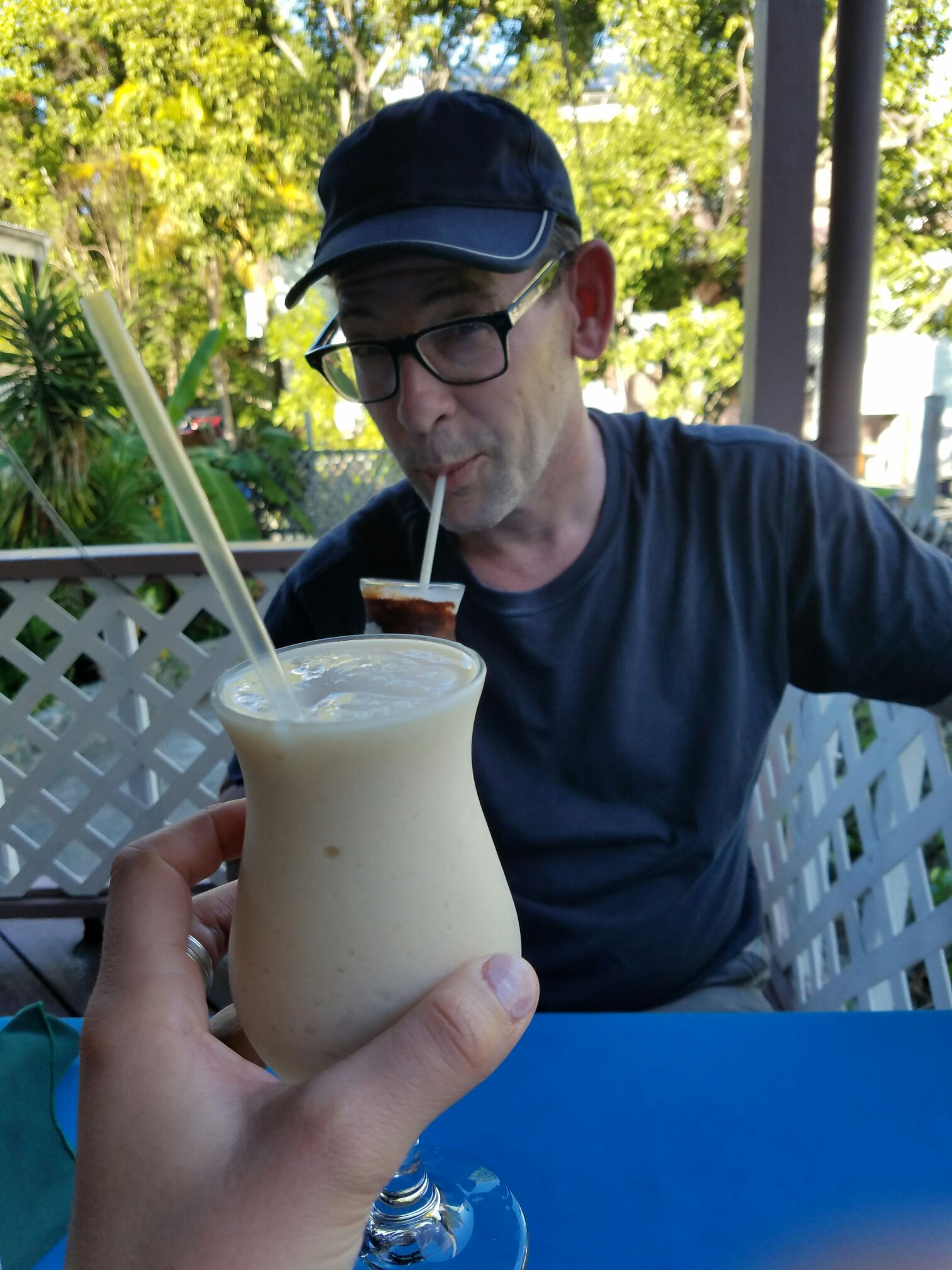 """I'm drinking a """"Nutwhacker"""" which is like a Reese's Peanut Butter Cup in a frozen booze drink. This drink erases any memory of The DONALD, I promise..."""