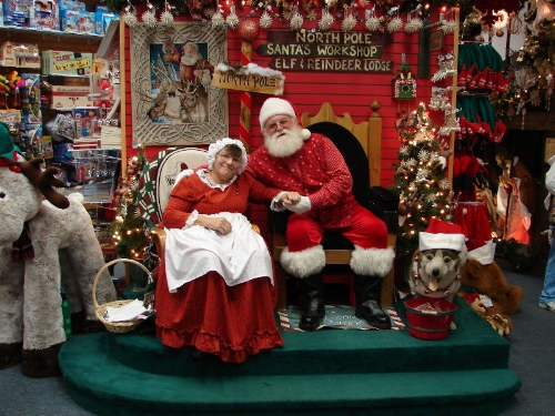 Santa and Mrs. Claus in happier times. For the elves. Santa and Mrs. Claus are doing just fine.