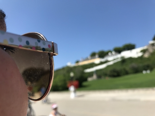 Mary looks at  Fort Mackinac .