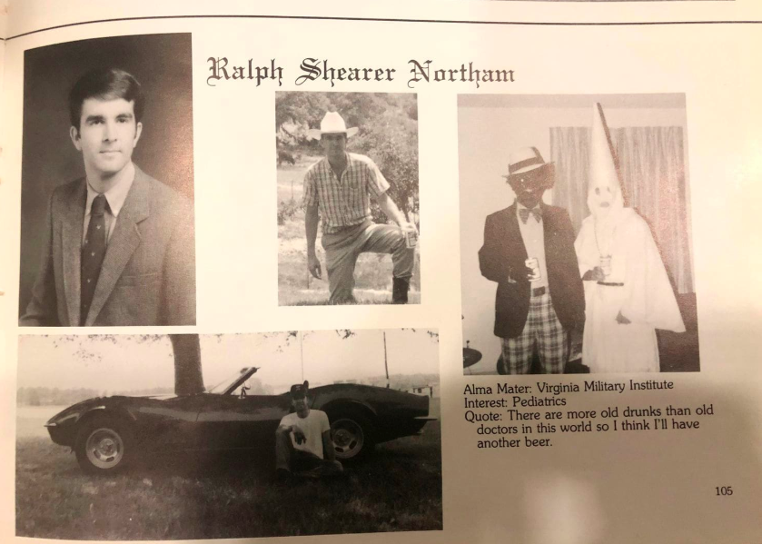 A page from the Governor's 1984 Eastern Virginia Medical School Yearbook. It was a simpler, more racist time.