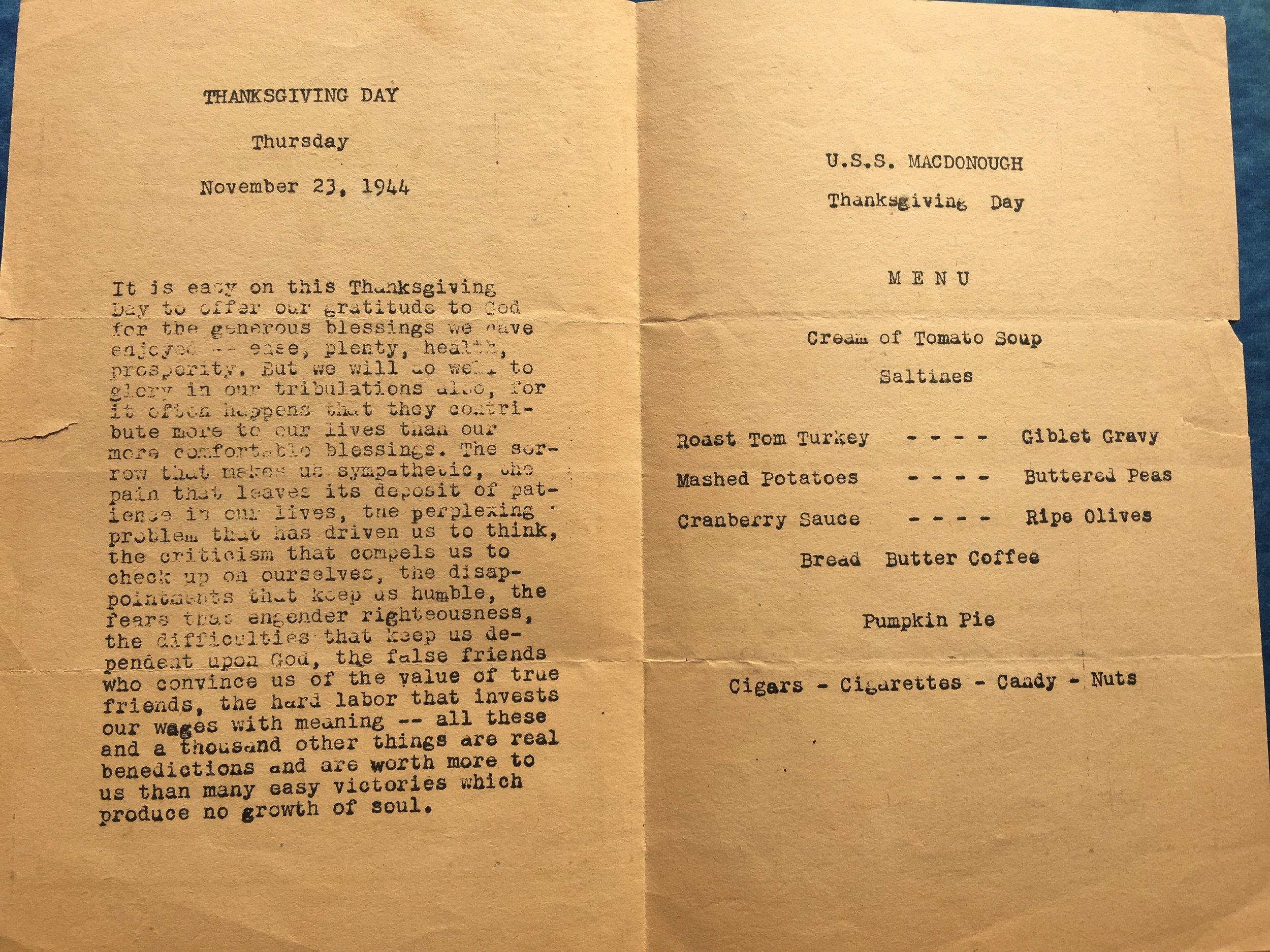 Inside of menu on U.S.S. MacDonough.
