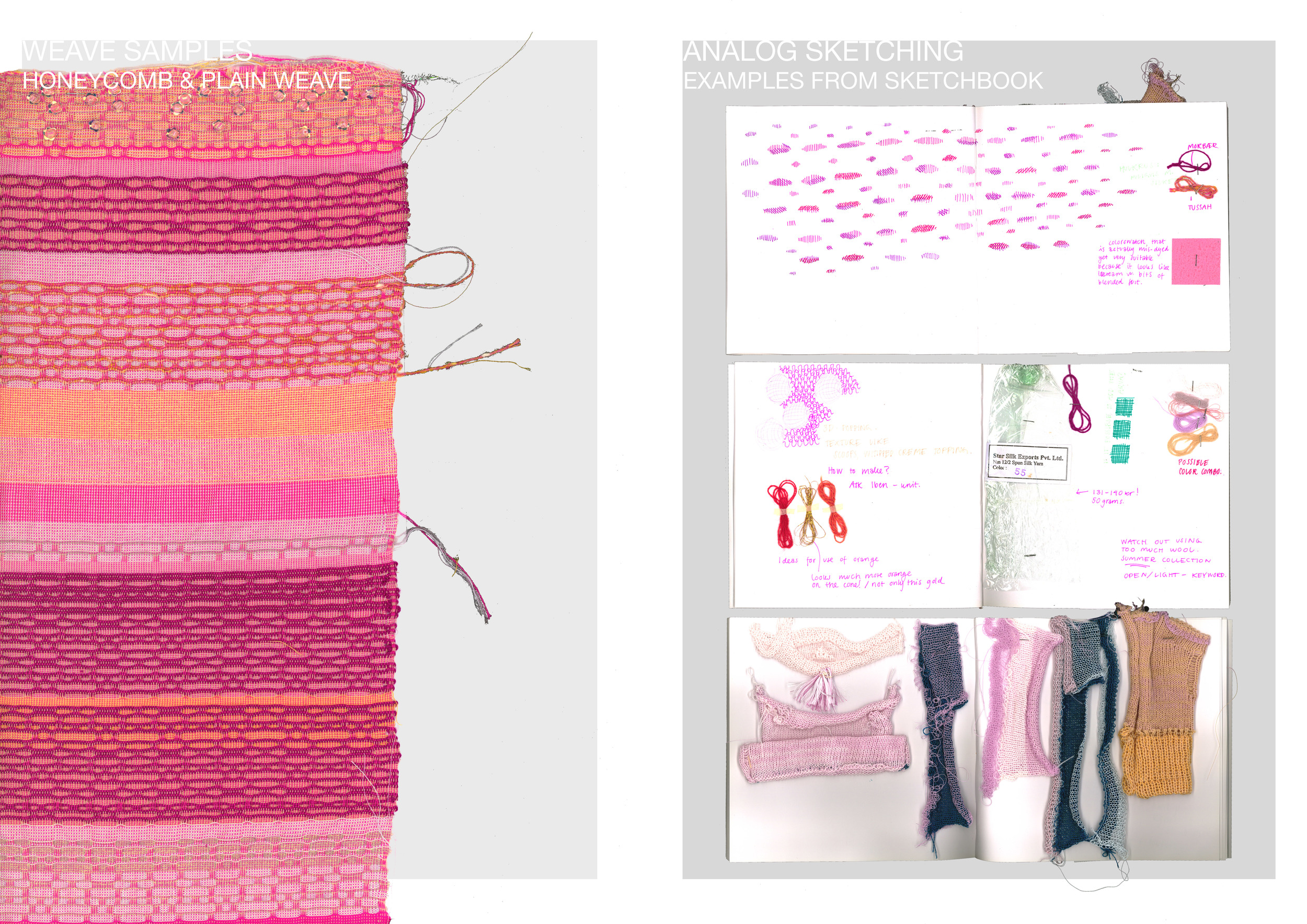 (left) Honeycomb sample with variations to understand the aesthetics of deflected options and yarns applied. (right) sketch book with analog machine knit, pattern + yarn samples.