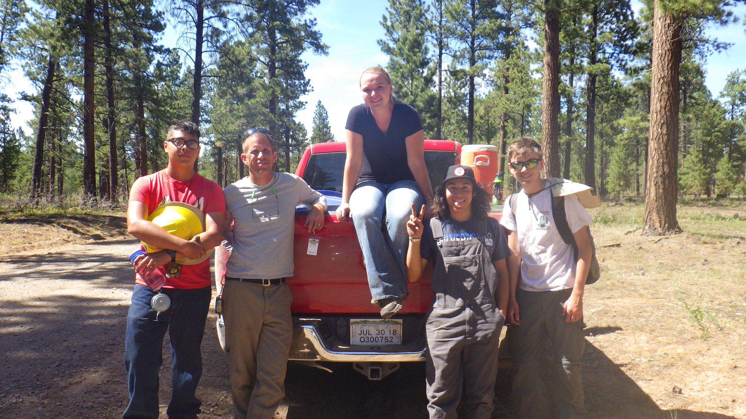 The Forestry Interns and their Teacher Mentor with their Hellman Motor Company 4 x 4