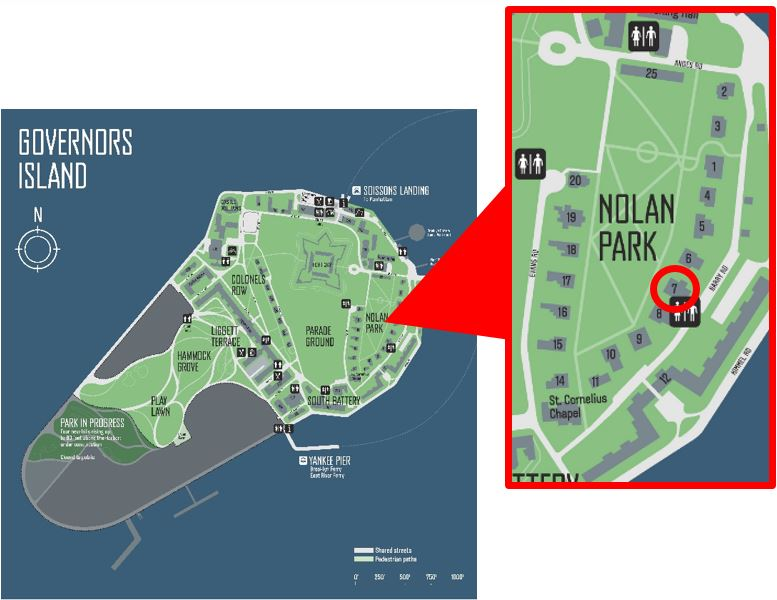 Map of Governors Island & location of House 7A