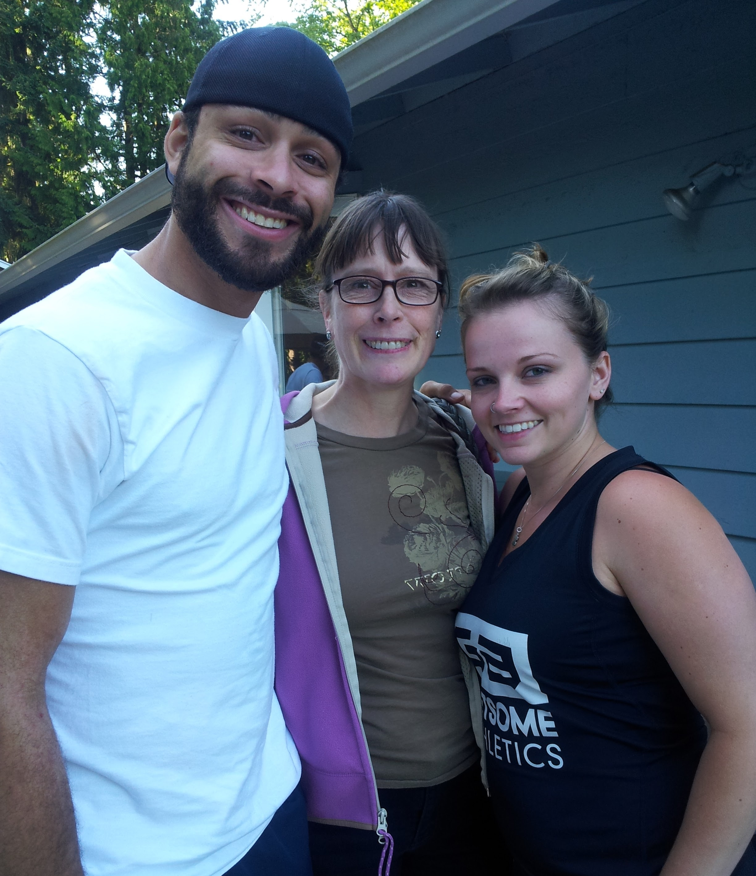 My brother Justin, sister-in-law Bre, and Mom