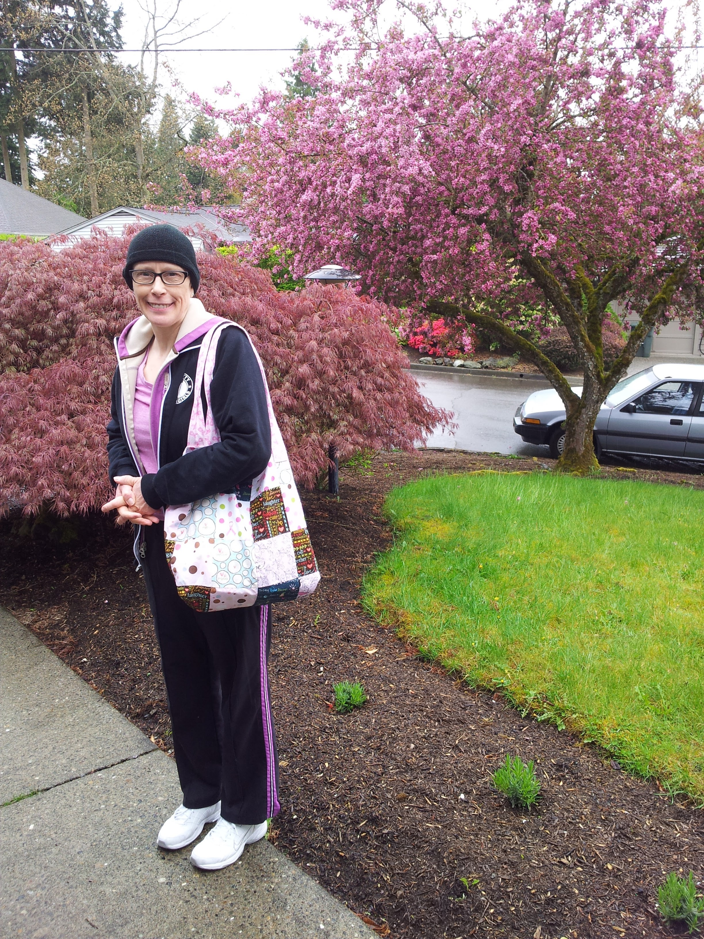 She wanted to show off the bag a friend made for her and show off her love for the color pink.