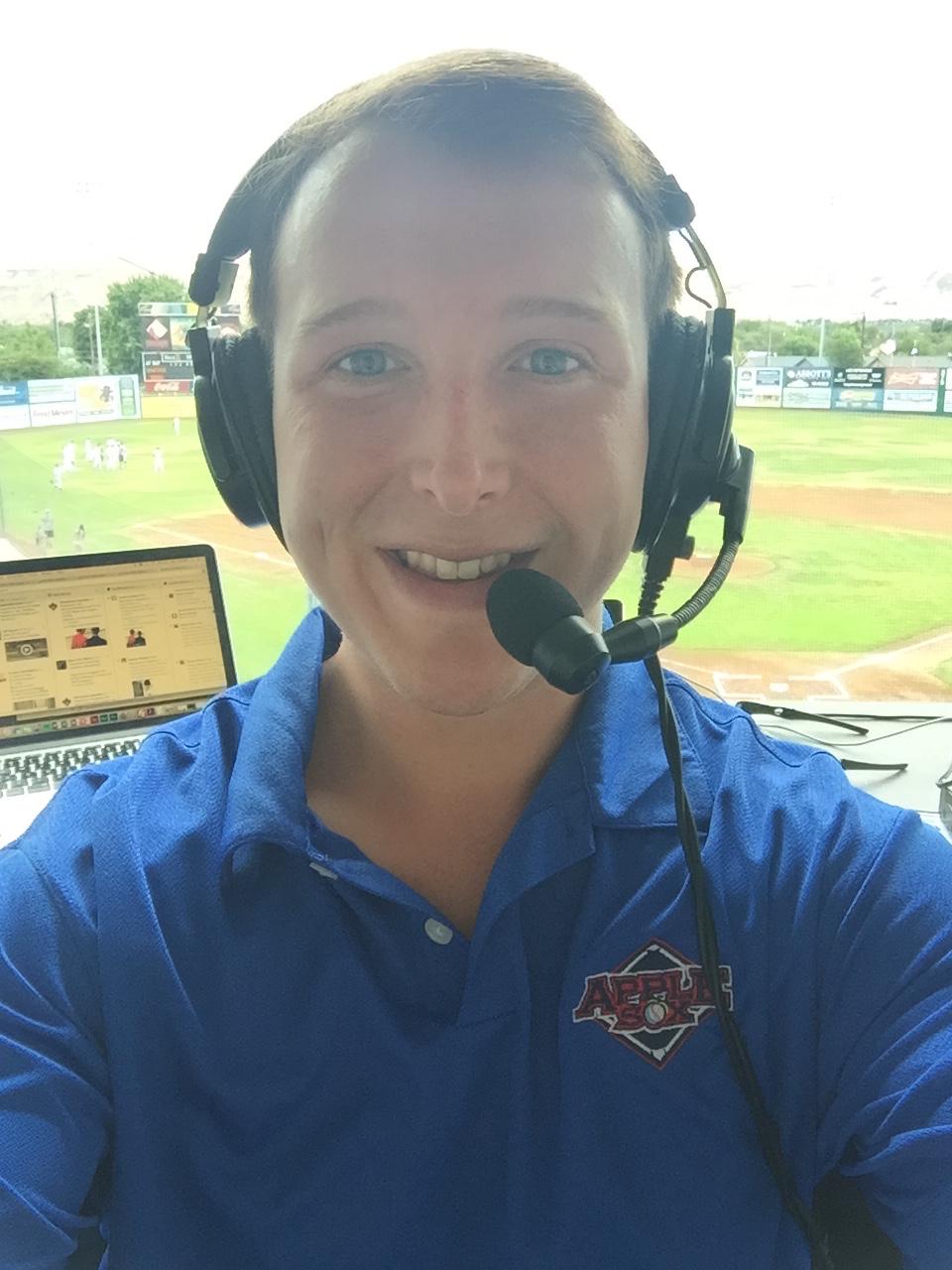 Broadcasting West Coast League baseball for the Wenatchee AppleSox, in Yakima, Wash., July, 2016.