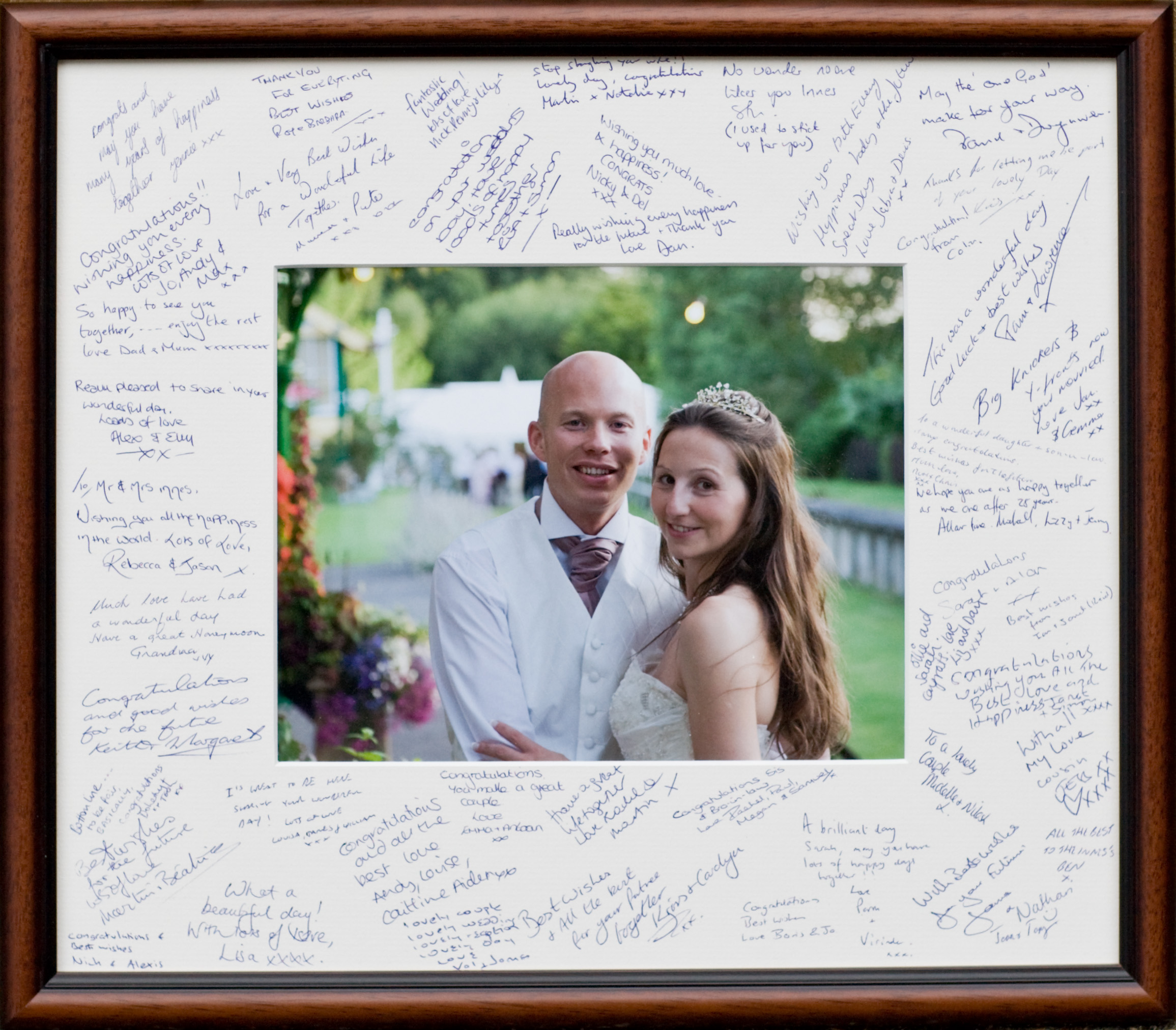 A signing mount is a great memory of your day and the people who were there to share it with you. It hangs as a wall display rather than sitting in a drawer like a guest book.