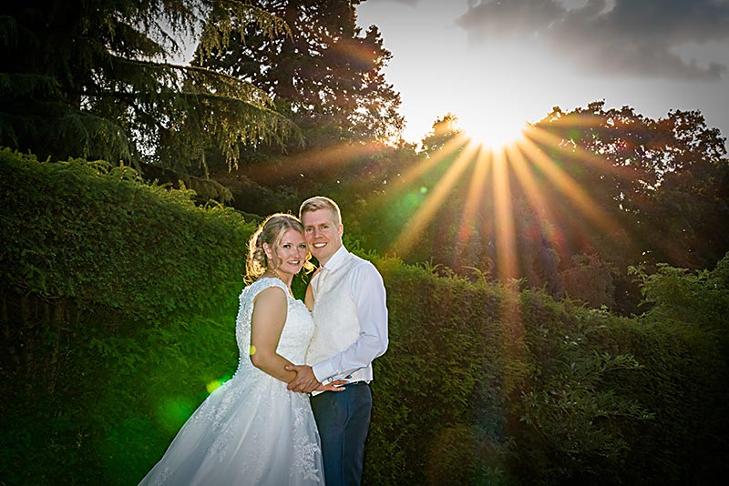 Bride & Groom in evening sunshine
