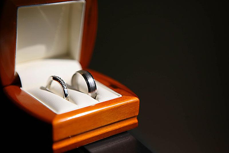Wedding rings in their box