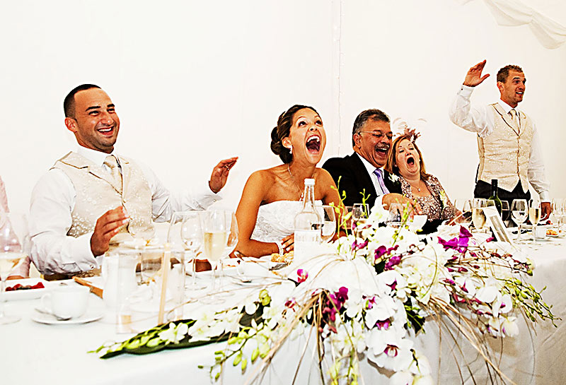 Wedding speeches and reactions