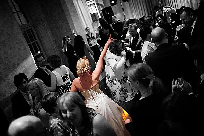 Wedding party, bride dancing