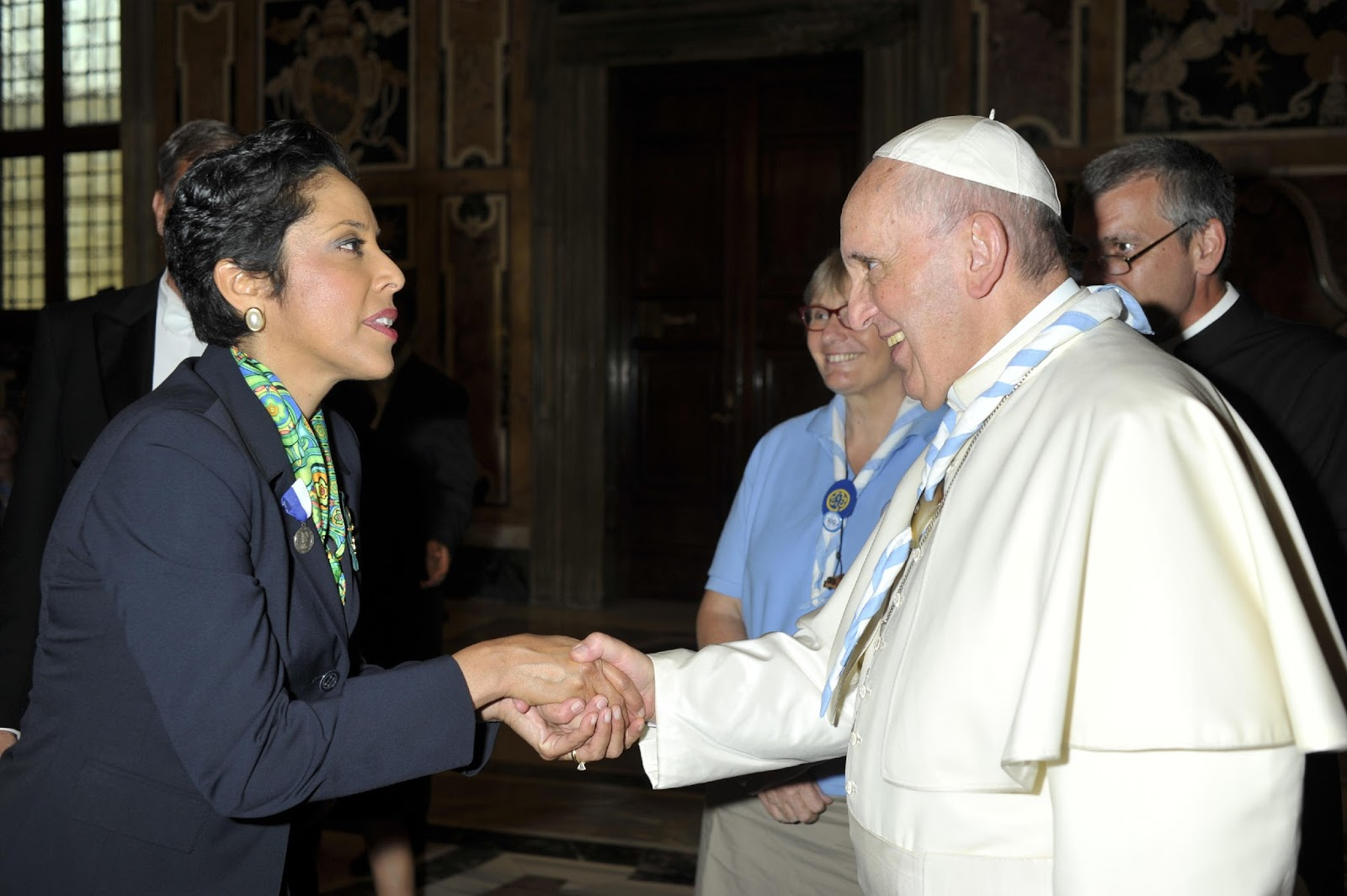 Pope Francis and Anna Maria Chávez Shaking Hands