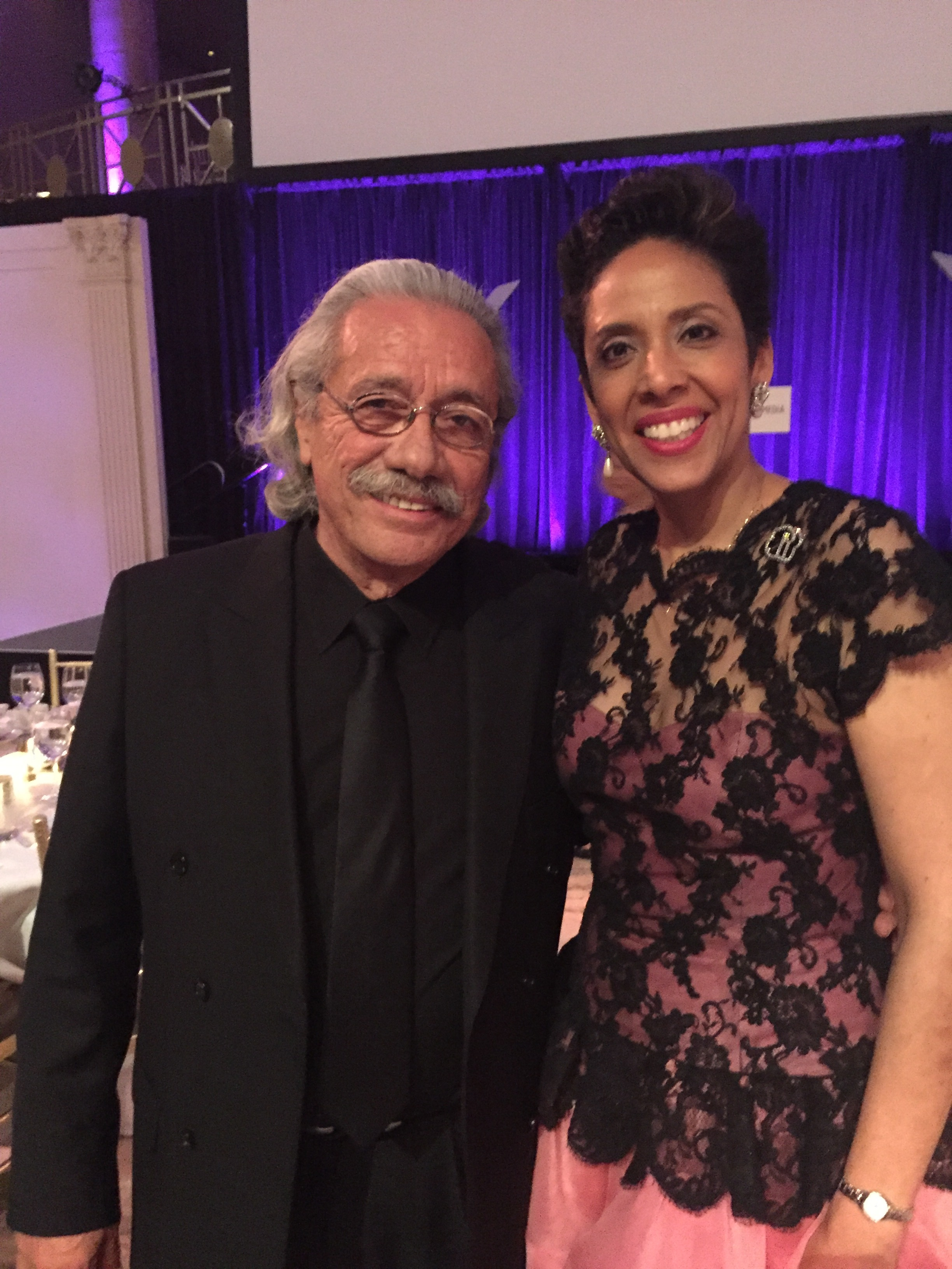 Actor Edward James Olmos with Anna Maria Chávez