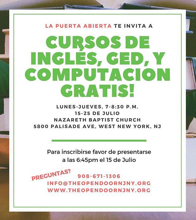 El próximo lunes comienza nuestro programa de verano en West New York, NJ! Aún no se ha inscrito? No se preocupe, inscripciones abiertas el lunes, 15 de julio, a las 6:45pm en 5800 Palisade Ave. Le esperamos! #inmigrantes #immigrants #ESL #GED #computerliteracy