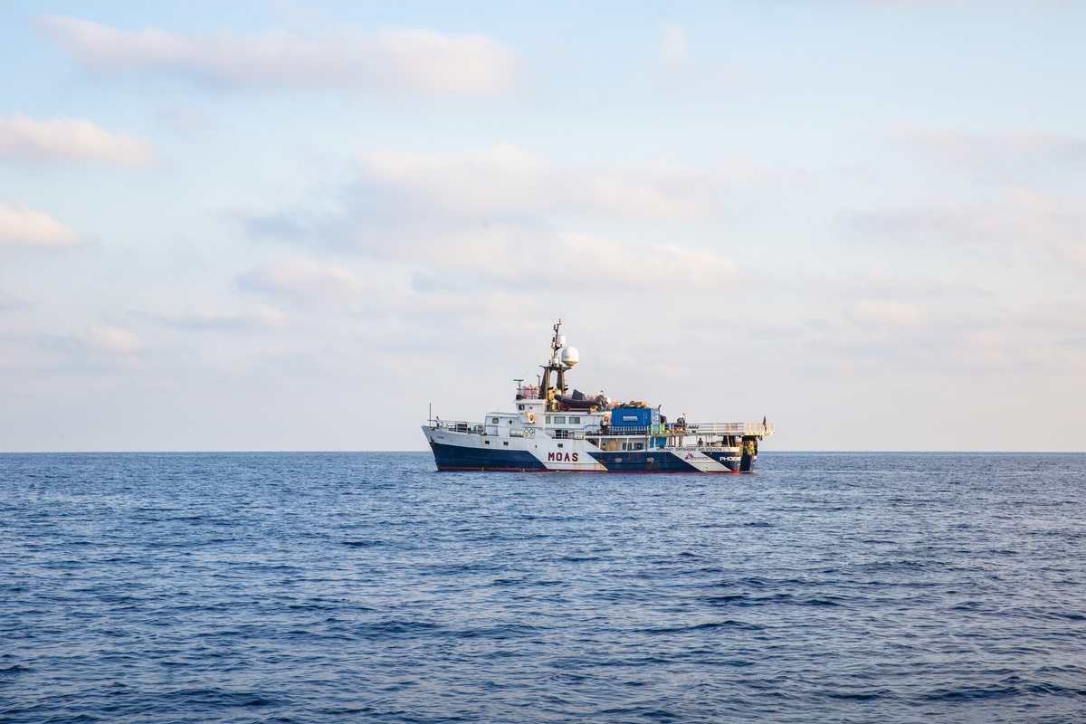 Strait of Sicily, September 2, 2015. Migrant Offshore Aid Station (MOAS) is a humanitarian search and rescue operation assisting vessels in distress in the central Mediterranean Sea. The MOAS expedition vessel, named Phoenix, is equipped with two Camcopter S-100 remote piloted aircraft (RPAs) which monitor the seas from the sky and provide real-time intelligence to MOAS and the rescue coordination centre of Malta and Italy.