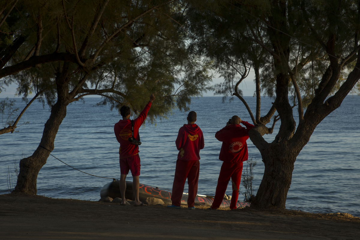 Spanish volunteer lifeguards from Spain look for refugees arriving on the Greek island of Lesbos.