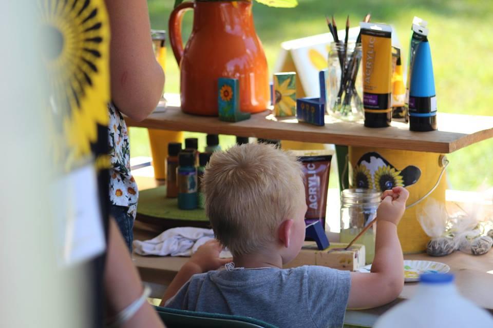 Creative Kids tent at the Sunflower Art Festival