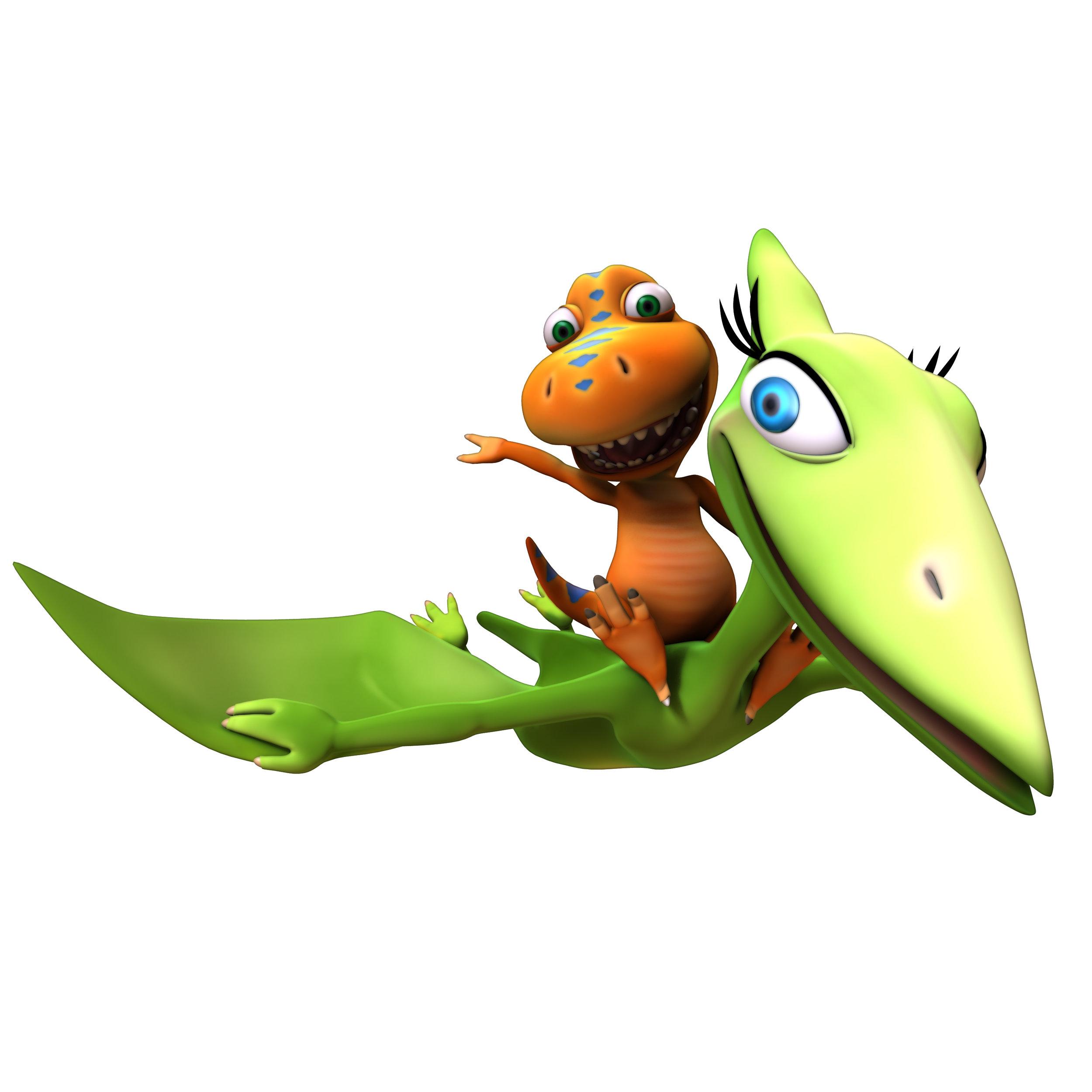 Buddy and his mom,Mrs. Pteranodon, from   Dinosaur Train