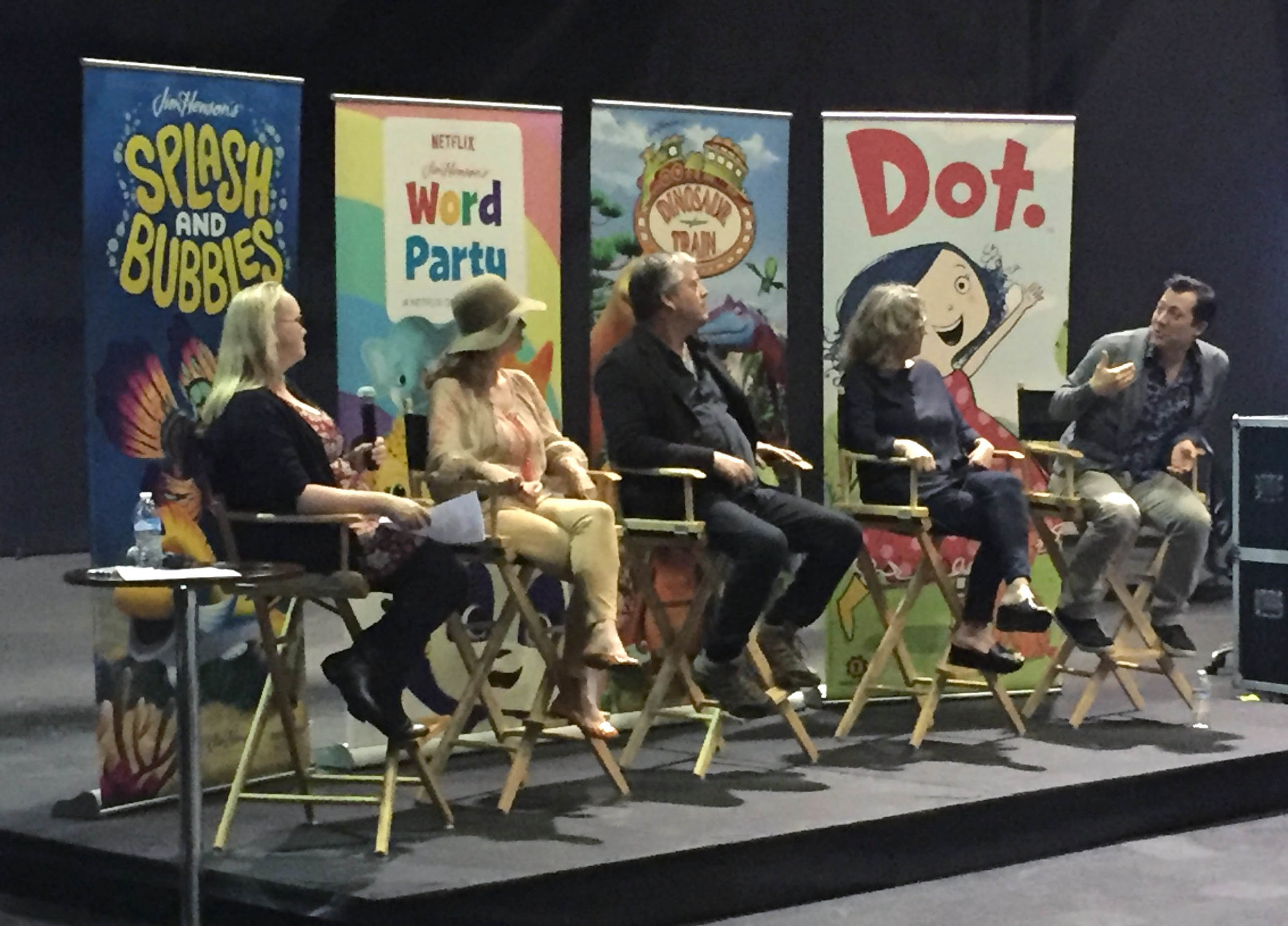 Panel Moderator & Show Producers (L to R):  Nicole Goldman, Halle Stanford, Craig Bartlett, Alex Rockwell, and John Tartaglia discussing our preschool shows at the first Henson Family Hub Series Summit.