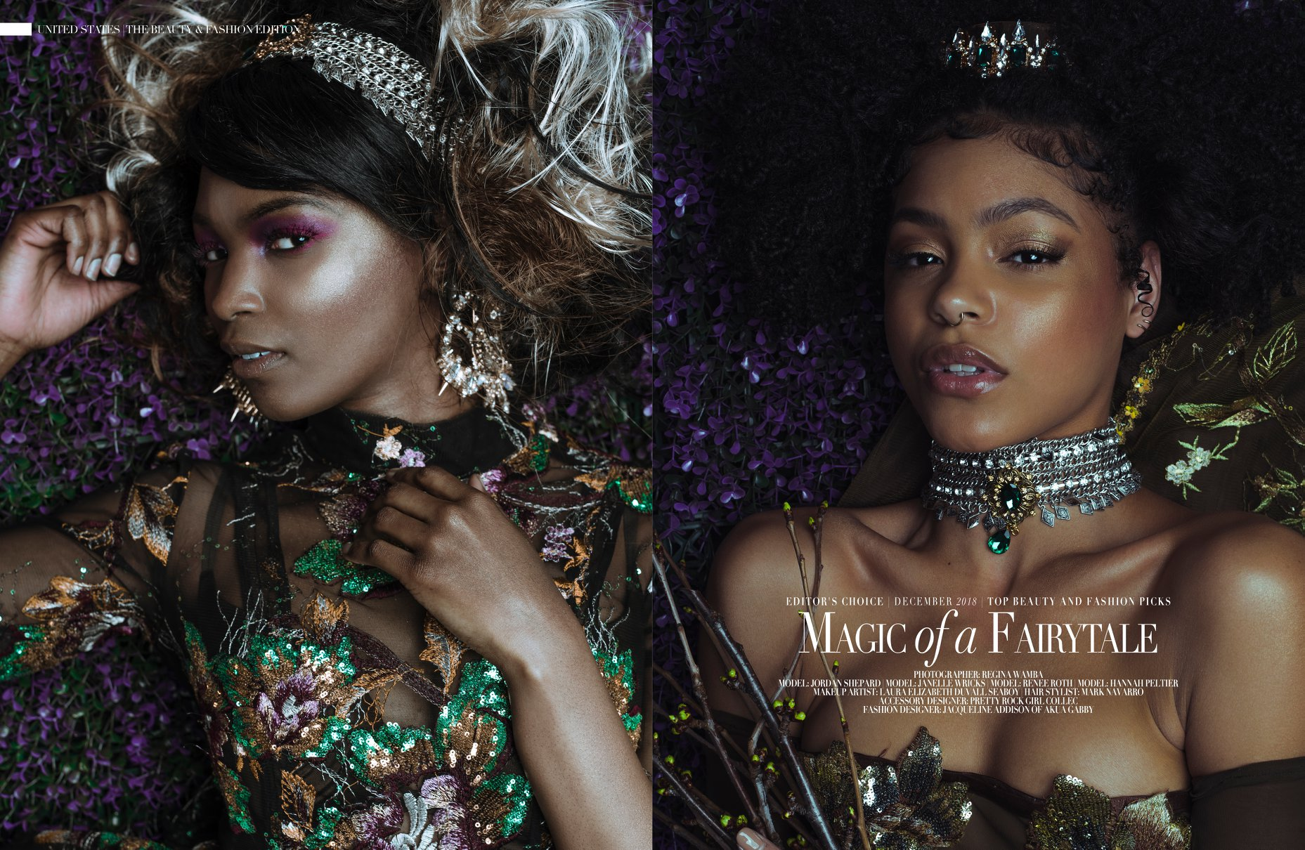 Published in PUMP Magazine December 2018  Photographer: Artist Regina Wamba Makeup: Laura Elizabeth DuVall Seaboy Hair: Mark Navarro Hair & Makeup Gowns: Jacqueline Amissah Addison Accessories: Zong Xiong  Models: Janelle Wricks and Jordan Shepard