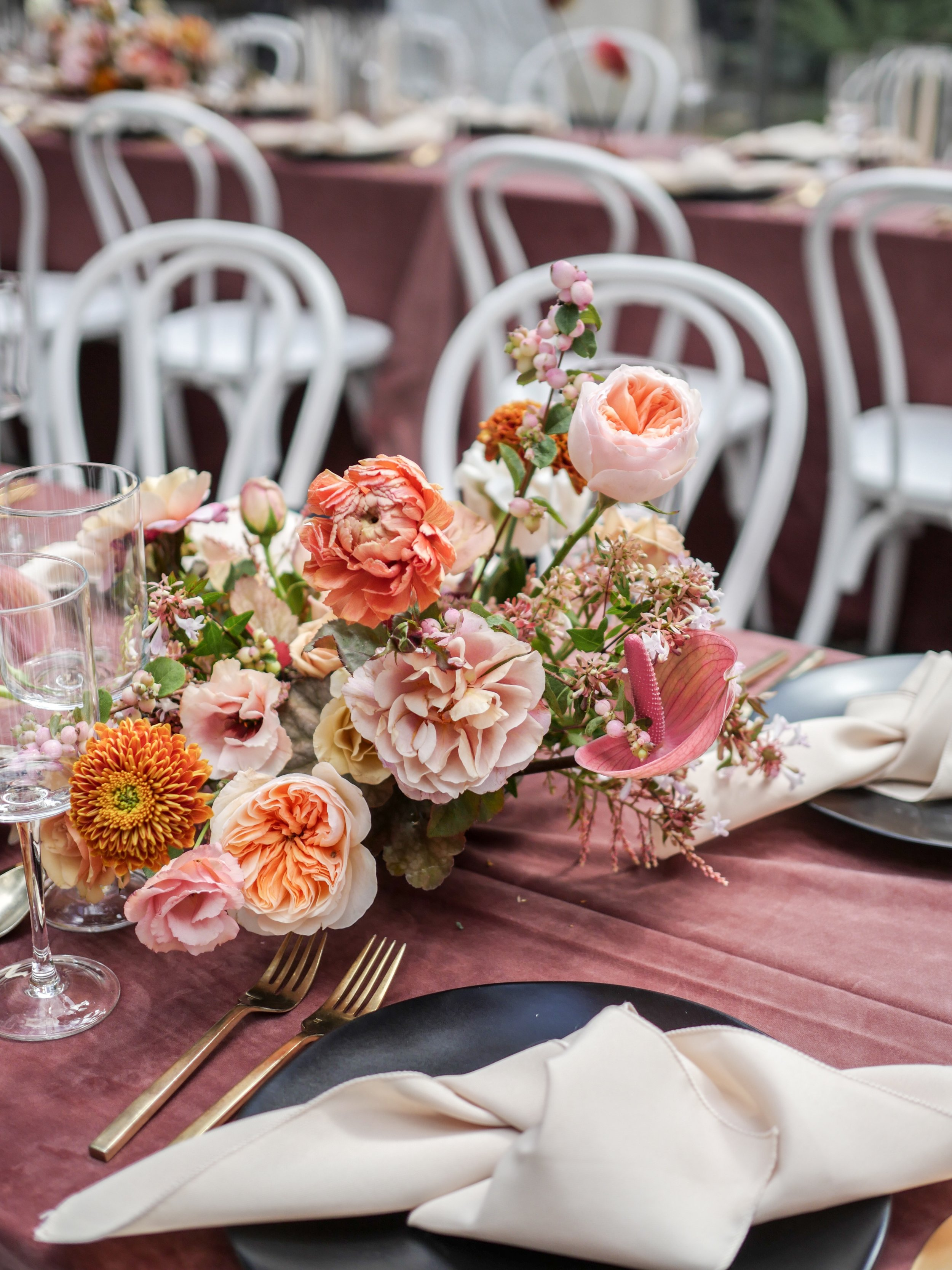 Flower centerpiece by Color Theory Collective