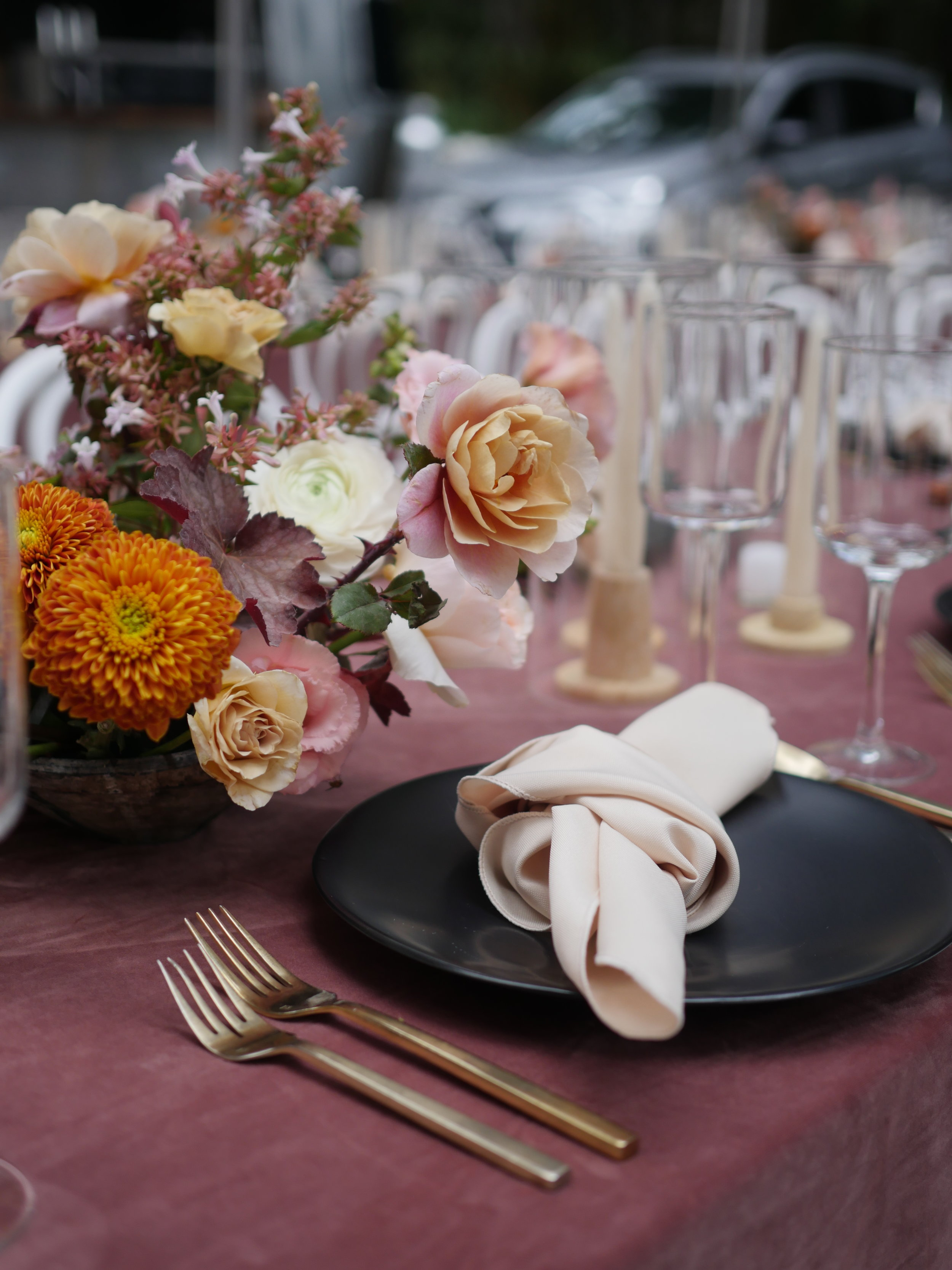 Wedding placesettings and flowers by Color Theory Collective