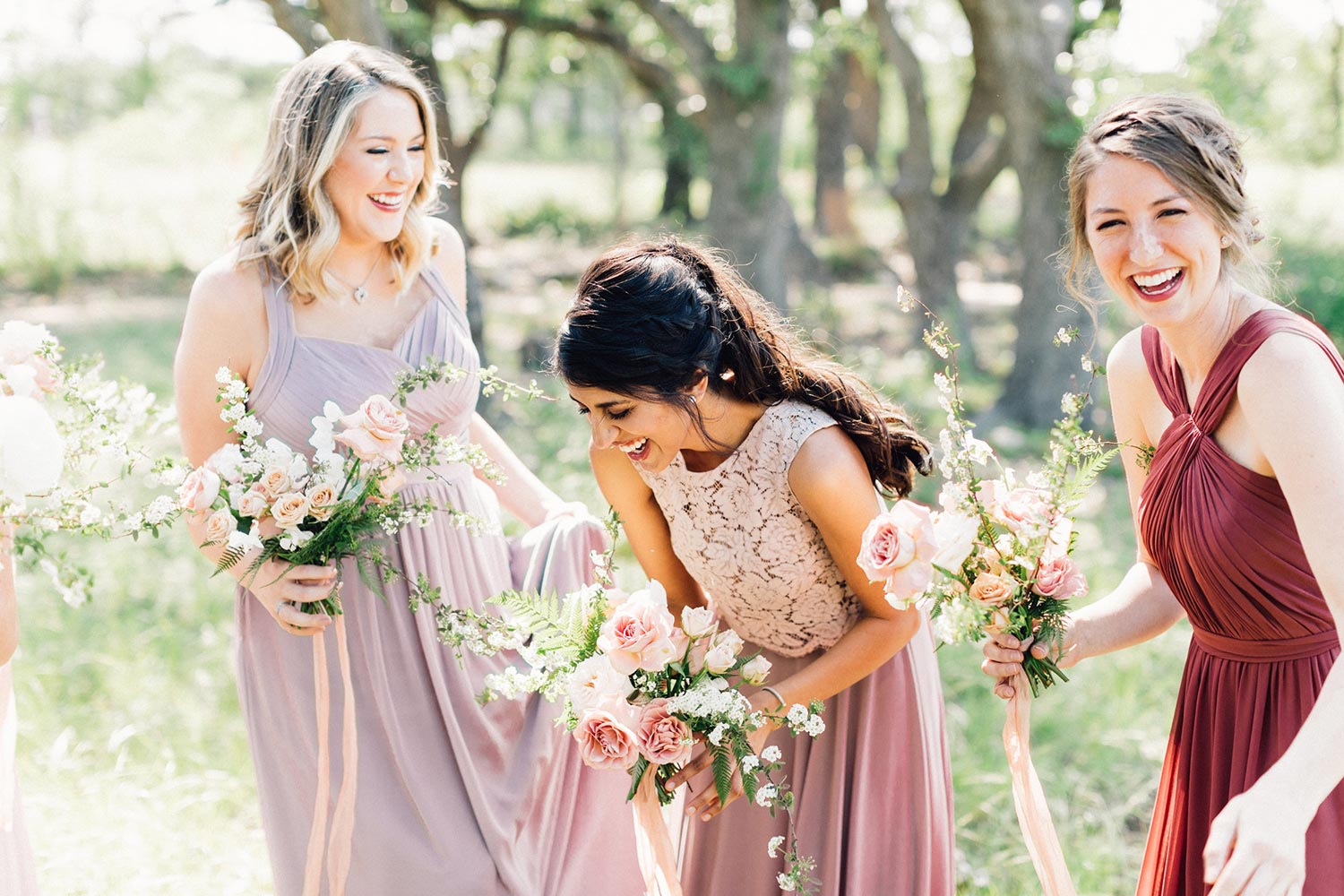 Bridesmaids bouquets by Color Theory Collective