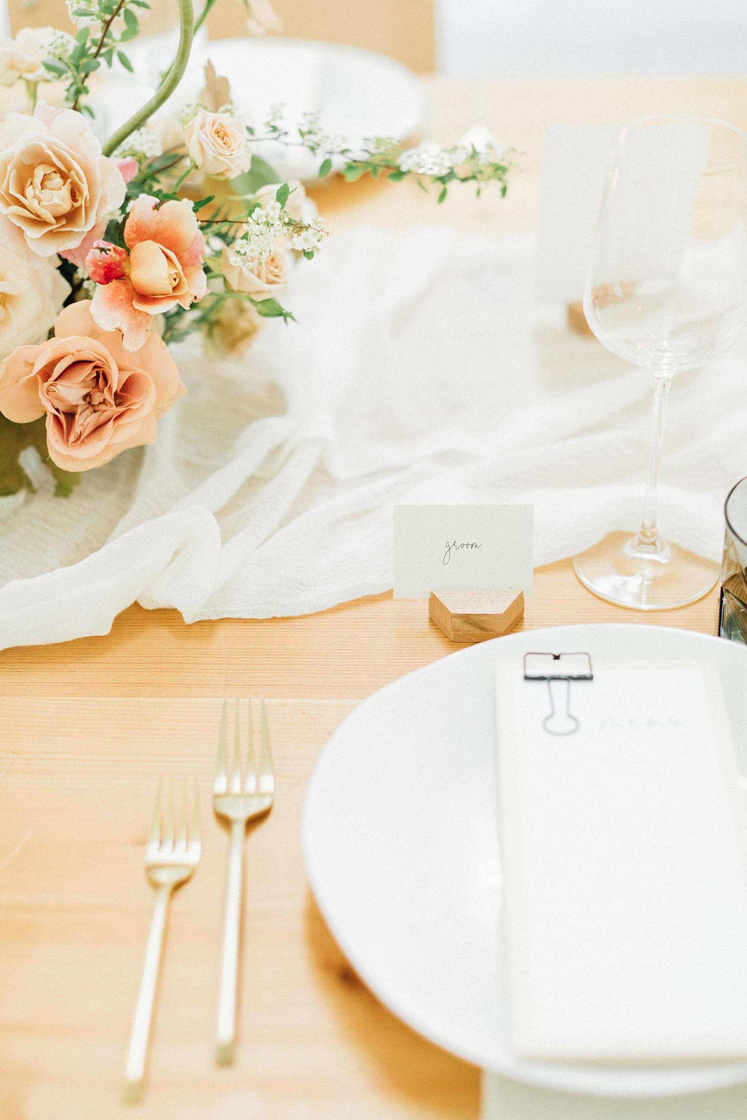 Wedding place setting with Color Theory Collective