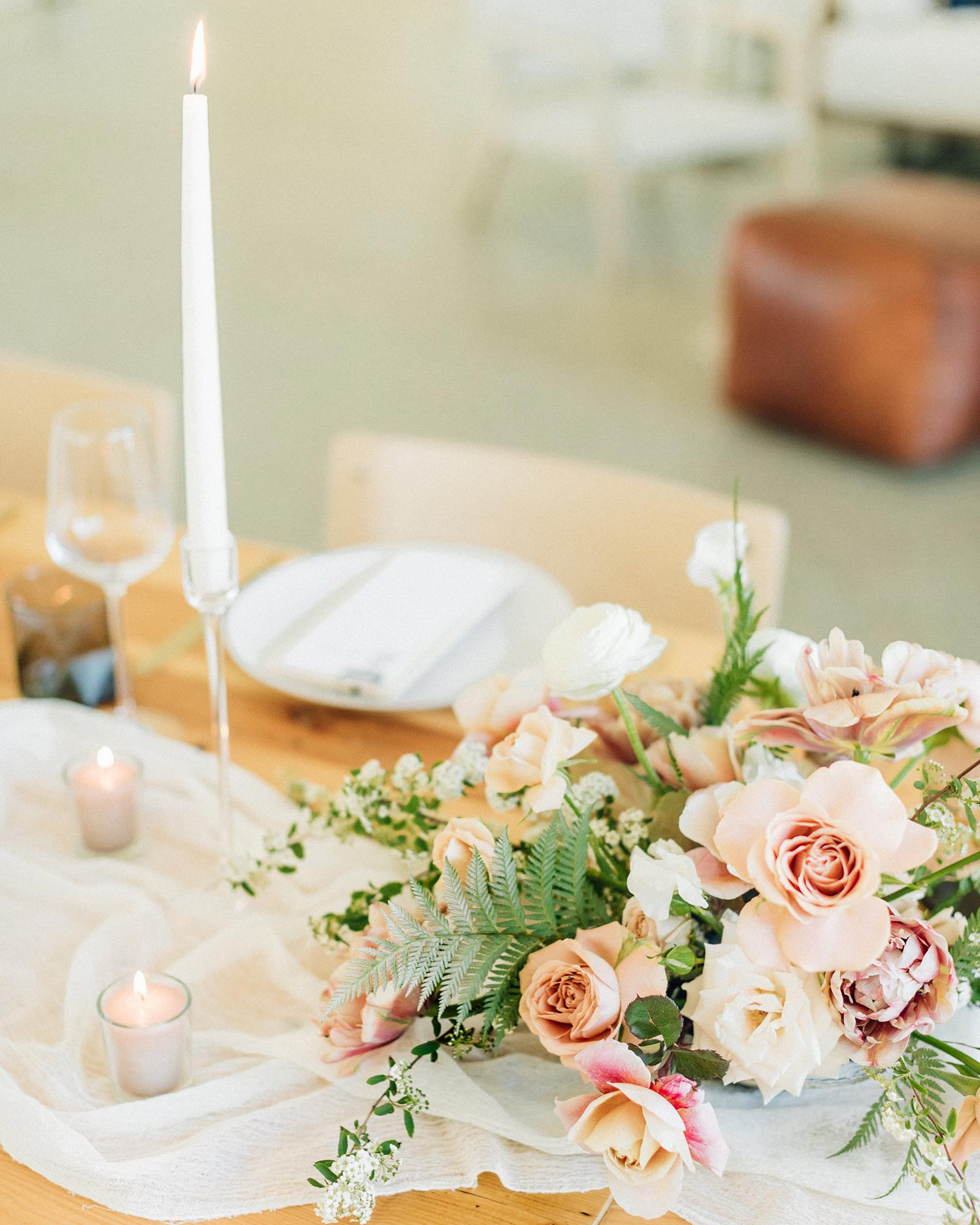 Flowers and candles by Portland florist Color Theory Collective