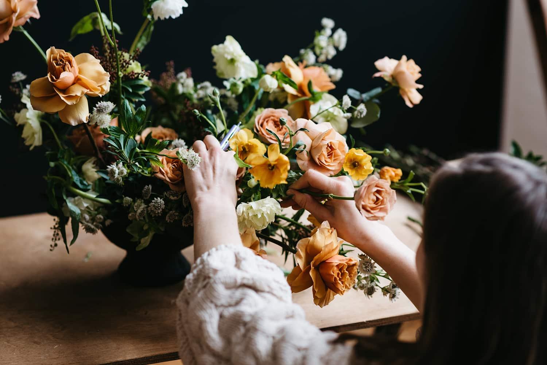 Flower arrangement designed by Portland florist Color Theory Collective