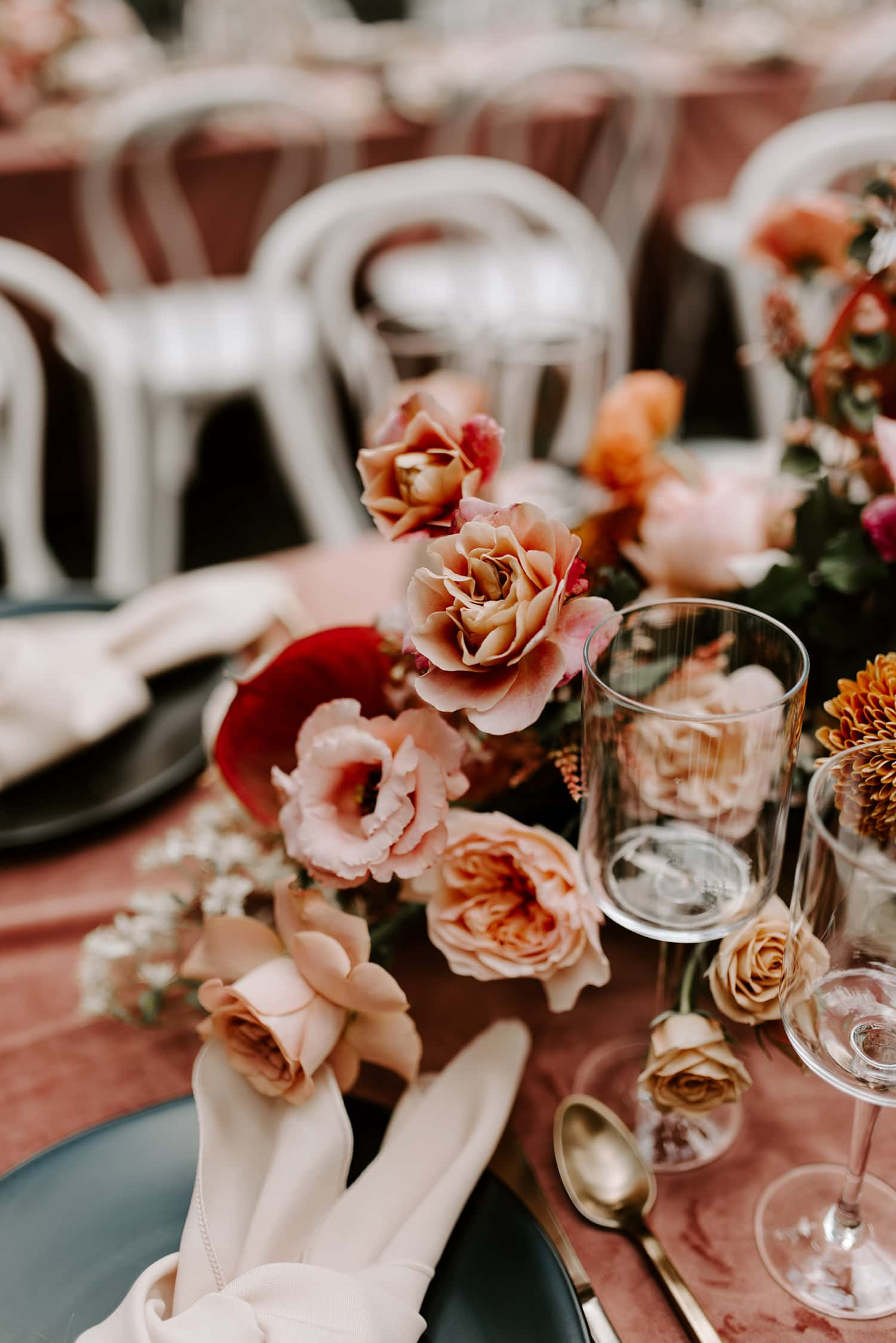 Copy of Floral centerpieces in wooded wedding