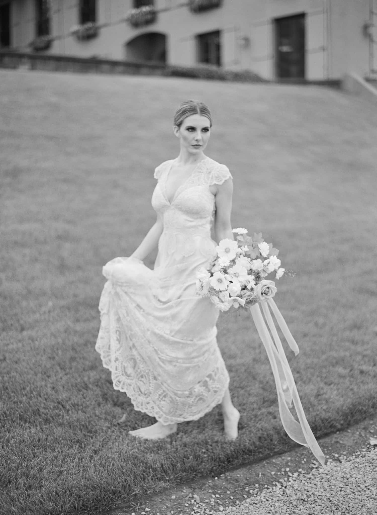 Bridal Portrait with bouquet by Color Theory Collective
