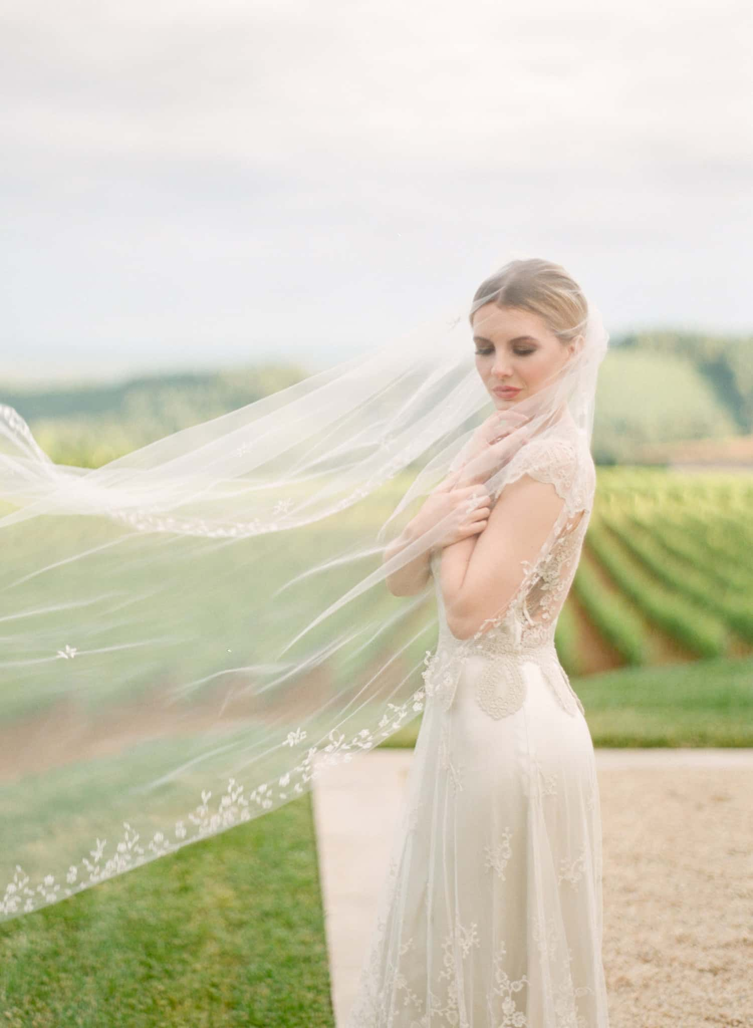 Bridal portrait with delicate veil