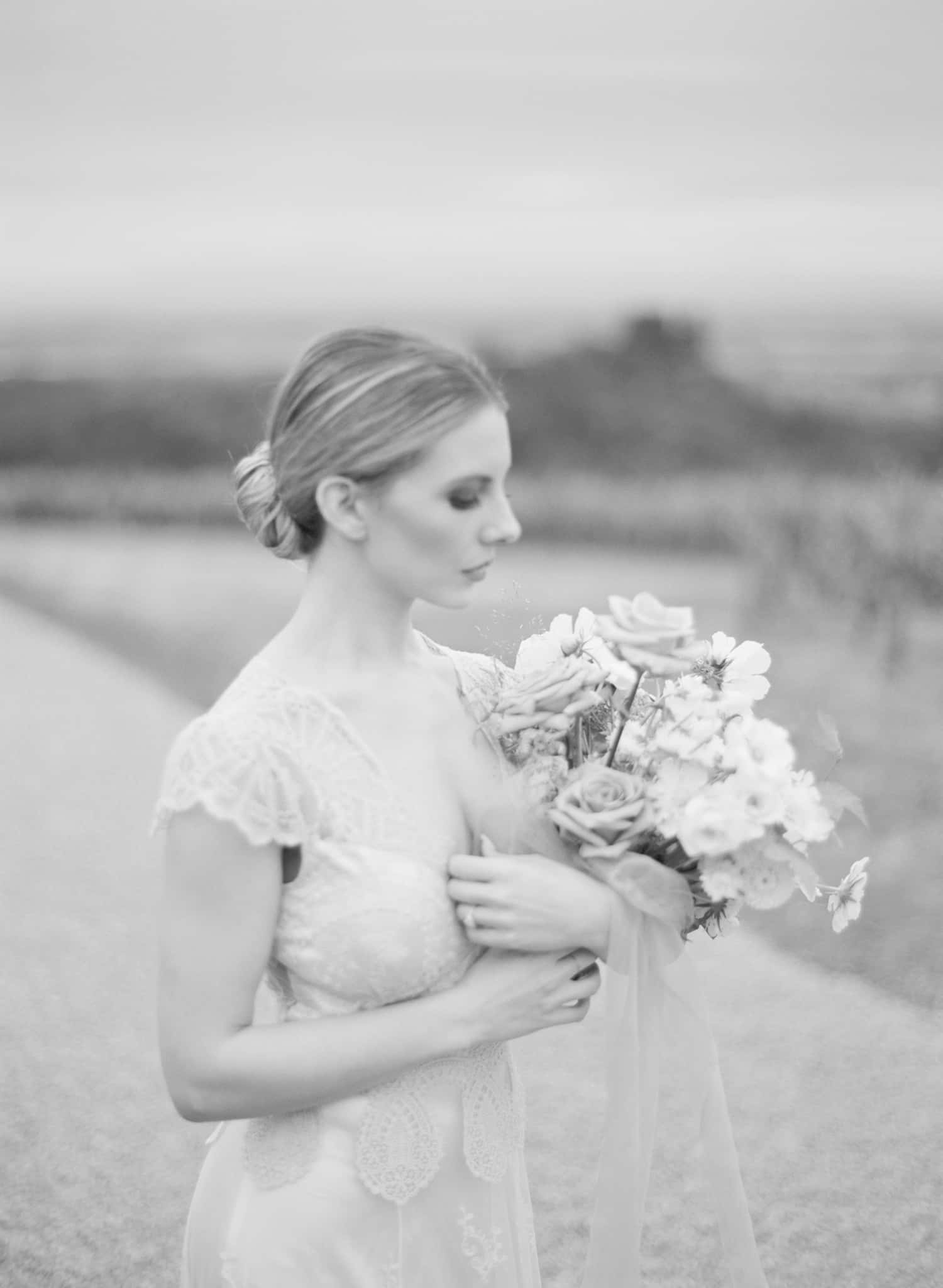 Black and white portrait of Portland bride
