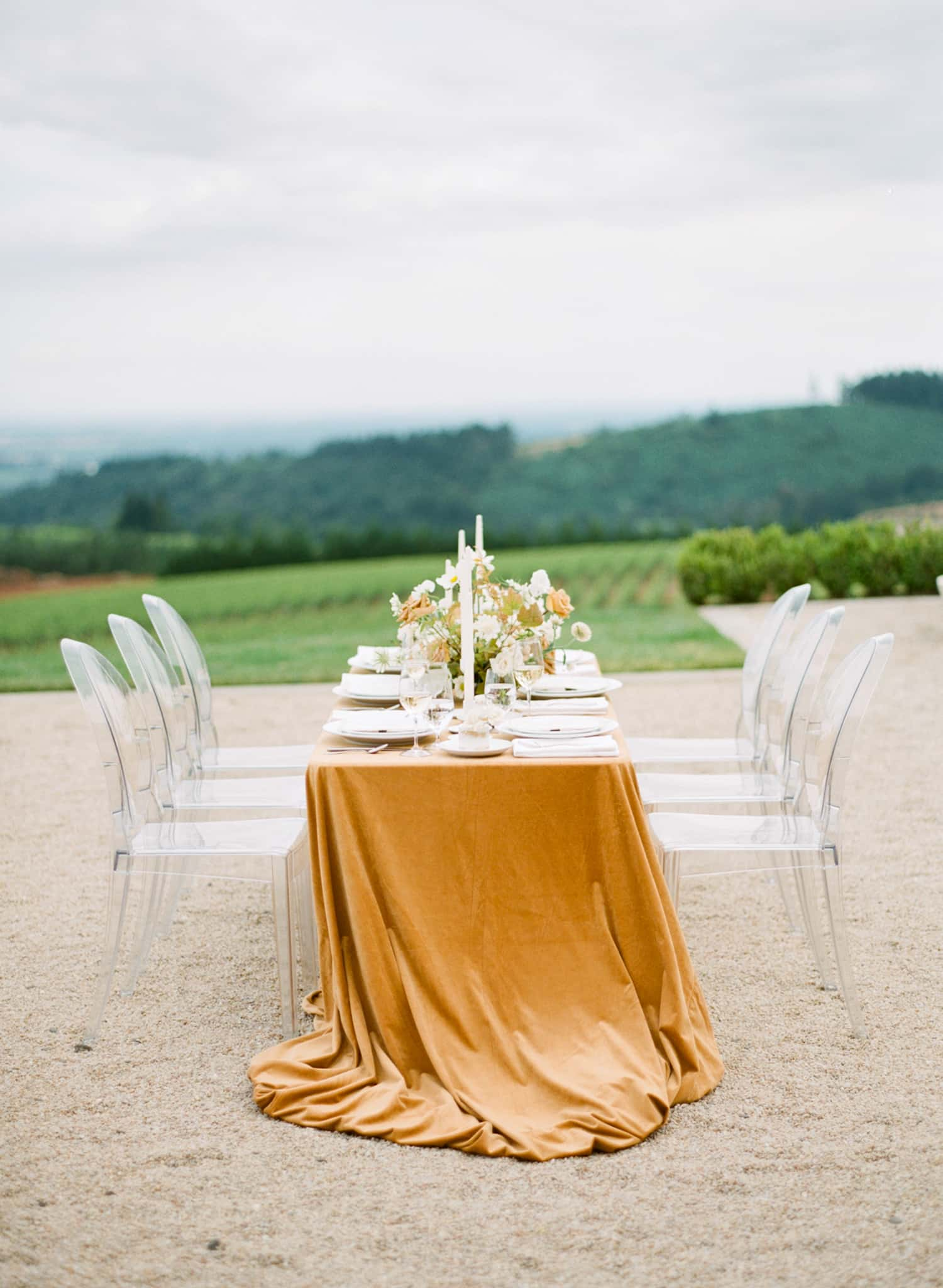 Wedding Table Design at Oregon Vineyard