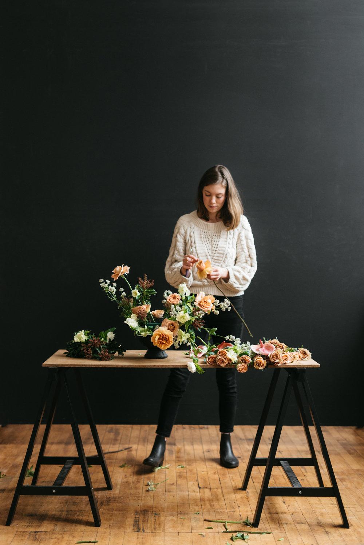 Portland florist Alyssa Lylte in Portland Oregon floral design studio