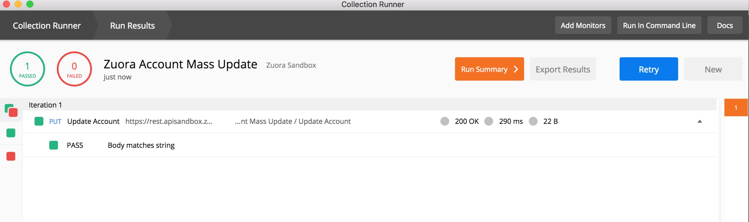 Zuora Postman Runner Request Results