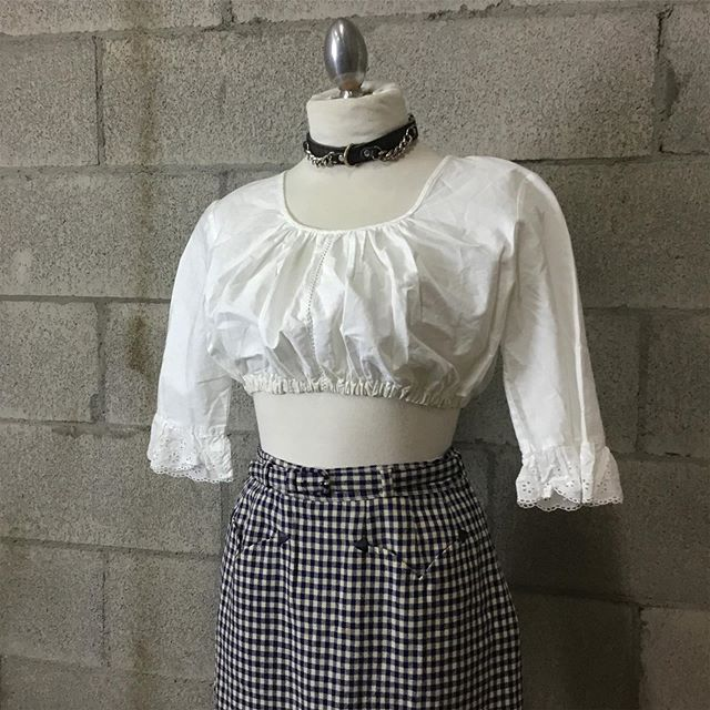 Contemporary dirndl shirt, $10 [SOLD]  Vintage plaid pencil skirt, $10 [SOLD]  #anastasiasvintage #vintageclothingberkeley #buyselltradeclothingberkeley #cashforclothesberkeley #anastasiasnewandusedberkeley #vintagetradingtelegraph