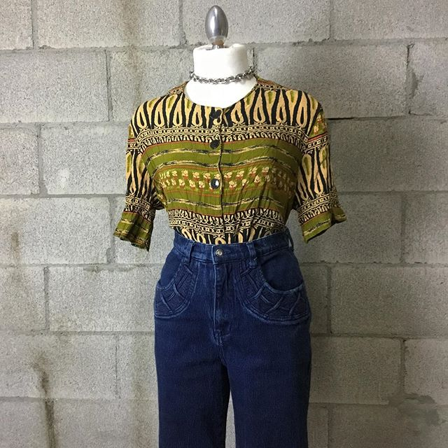 Vintage 90s button down patterned top, size S/M $12 [SOLD]  Vintage LA Blues, high waisted pants, $40 [SOLD]  #anastasiasvintage #vintageclothingberkeley #buyselltradeclothingberkeley #cashforclothesberkeley #anastasiasnewandusedberkeley #vintagetradingtelegraph